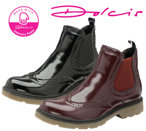 Ladies Dolcis Winlove Chelsea Memory Foam Patent Thick Tread Ankle Boots