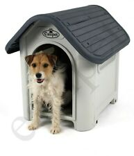 Plastic Dog Kennel Pet Cat House Weatherproof Indoor Outdoor Animal Shelter Grey