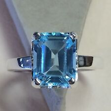 Genuine 4ct Swiss Blue Topaz 925 Solid Sterling Silver Emerald Cut Ring sz 5.75