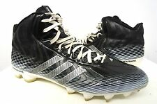 ADIDAS black 3 three stripes mid football cleats shoes soft spikes sz 12 mens#35