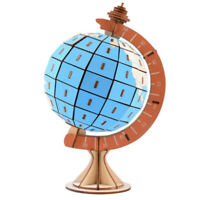 Globe 3D Diy Wooden Puzzle Wood Tangram Puzzles Rotatable Globe Teaching an Y8P9