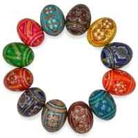 Set of 12 Ukrainian Hand Painted Pysanky Wooden Easter Eggs