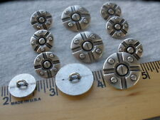 Steampunk Blazer buttons set 32L/24L 20MM/16mm silver pewter color shank 11 pcs