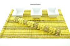 6 Hecho a Mano Madera de Bambú Manteles Individuales Mesa Alfombras Negro-amarillo, P074