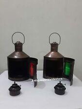 bNautical Metal Port Lantern & Star Bord Lantern Set Of 2 Ship Oil Lamps