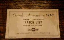 Chevrolet accessories for 1949.                Dealers Confidential Price List