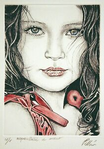 Cinzia Pellin - acquaforte acquarellata a mano 39x27 cm