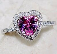 SALE 2CT Pink Sapphire & Topaz 925 Sterling Silver Heart Ring Jewelry Sz 7, P4