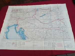 COLD WAR PERIOD RAF BEMBERG SILK ESCAPE AND EVASION MAP OF CENTRAL EUROPE 1953