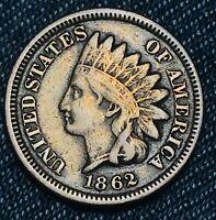 1862 Indian Head Cent Penny 1C CN High Grade Good Civil War Date US Coin CC4653