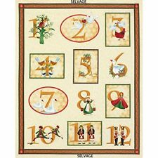 12 Days of Christmas Fabric Holiday Panel Gold,Partridge Timeless Treasures