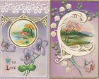 2 Amerikanische Präge-Glückwunschkarten, With Love  (D19)