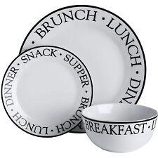 12 Piece Noir Porcelain White Black Tableware Crockery Dinner Plate Bowl Set New