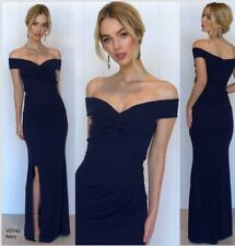 Off Shoulder Gown Size 16 Navy Side Slit Formal Bridesmaid Wedding