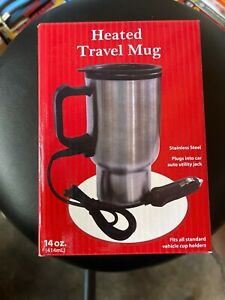 1 Travel Heated Mug Thermo Stainless Steel Portable Insulated Coffee Car Charger