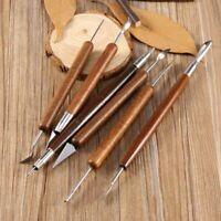6PCS Metal Wooden Handle Clay Sculpting Set Wax Carving Pottery Modeling Tools