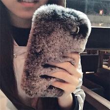 Hot Fashion Soft Bling Plush Rabbit Fur Fluffy Warm Girl's Back Case Cover Skin