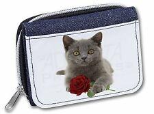 British Blue Kitten with Red Rose Girls/Ladies Denim Purse Wallet Chr, AC-186RJW