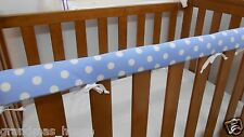 Baby Cot Crib Teething Rail Cover Spots on Baby Blue 100% Cotton ***REDUCED***