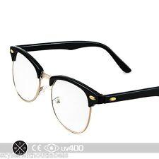 Black Gold Vintage Inspired 80s Clubmaster Clear Lens Hipster Nerd Glasses S012