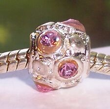 October Birthstone Pink Rhinestone Bead for Silver European Style Charm Bracelet