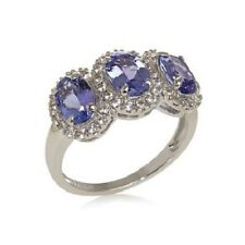 Colleen Lopez 2.27ct Tanzanite and White Zircon Sterling Silver 3-Stone Ring 8