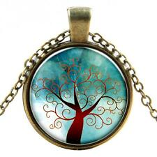 Vintage Tree of Life Cabochon bronze plated Glass Chain Pendant Necklace