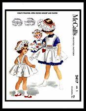 McCall's 2417 Pattern GIRL DRESS Frock Pinafore BONNET Hat Panties size ~1~ DOLL