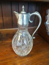 More details for vintage elegant  cut glass and silver plated claret wine jug m&r england