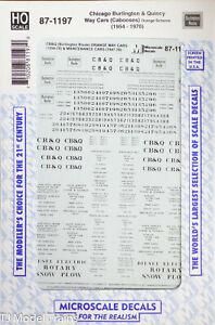 Microscale HO #87-1197 Chicago Burlington & Quincy (Way Cars) Cabooses (CB&Q)