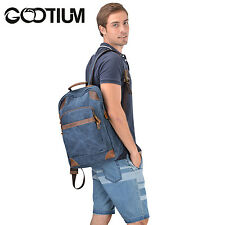 Gootium Canvas Leather Laptop Men's Backpack Bags Rucksack College Campus Navy