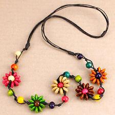 Long & Chunky Wooden Rainbow Bead Flower Necklace Hippy Boho Hippy Happy Funky