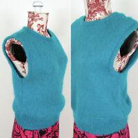 Vtg 80s TEAL MOHAIR SWEATER VEST Green Sleeveless Shirt Top Blouse Wool Sz M L?