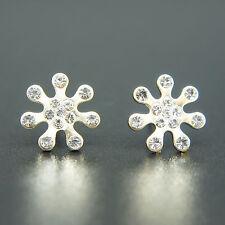 14k Gold Plated Swarovski Crystals Stud Star Earrings