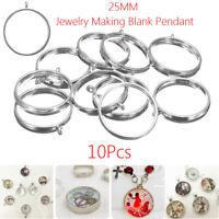 10X 25mm Silver Open Back Bezel Setting Resin Jewelry Making Blank Pendant Trays