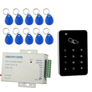 Door Access Control RFID Reader Password Touchpad Keychain FOB 12V Power Supply