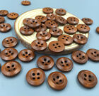 NEW 100pcs Brown 4 Holes Wooden Buttons Sewing Scrapbooking Diameter 15mm