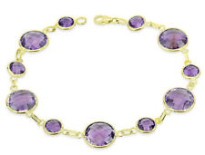 14K Yellow Gold Bracelet with Oval and Round Amethyst Gemstones 7.25 Inches