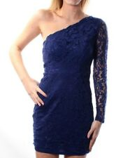 NWT $69 SPEECHLESS Blue Lace Asymetrical Neckline Party Body Con Dress Size: 9