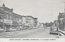 BREMEN INDIANA~MAIN STREET-STOREFRONTS~A GOOD TOWN-1950s VIEW POSTCARD