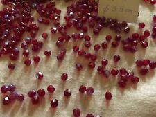 lot de 100 PERLES anciennes en cristal à facettes rouge AB clair diam 5.5 mm h6