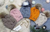 Damen Mütze Winter | DamenmützeWarme Strickmütze mit Bommel | Innenfleece (683)