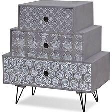 Grey Bedside Cabinet 3 Drawer Nightstand Side Table Steel Legs Bedroom Furniture