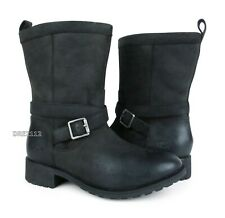 UGG Glendale Black Leather Fur Boots Womens Size 8.5 *NIB*