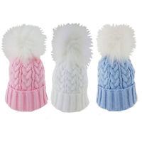 Baby Boy Girl Pom Pom Hat Fur Knitted Beanie Blue Pink White Newborn-18 Months