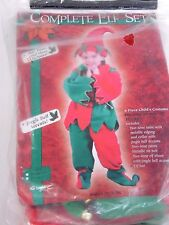 CHILD 3T-4T 6 Piece Complete Santa's Elf Costume Christmas Halloween