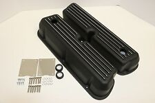 SBF Black Finned Aluminum Tall Valve Covers 289 302 351W 5.0L SB Ford Mustang