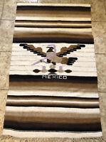 Vtg Woven Weaved Mexican Blanket Rug Tribal Eagle Snake Handwoven Wool Fringe