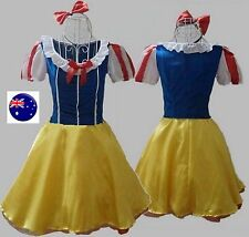 Women Halloween Snow white Princess Party Costume Stockings headband Dress 3PCS