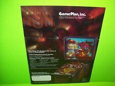Game Plan ATTILA THE HUN Original 1985 Flipper Game Pinball Machine Promo Flyer